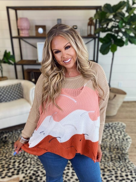 Any Day Color Block Sweater-Coral