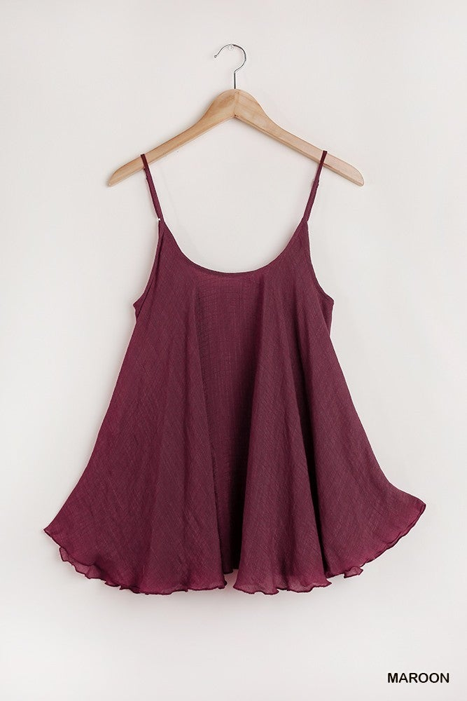 Simply Striking Tank Top - Maroon