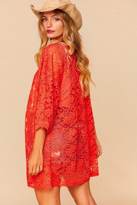 PLUS/REG Lace Queen Kimono - Red