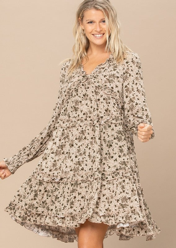 Reg/Plus Fall Days Floral Dress - Taupe