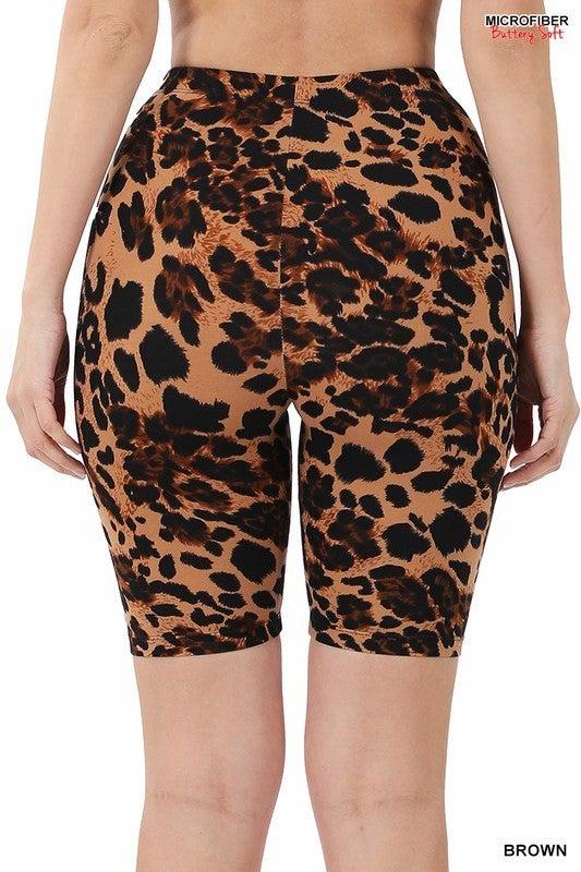 Sassy Side Biker Shorts - Brown