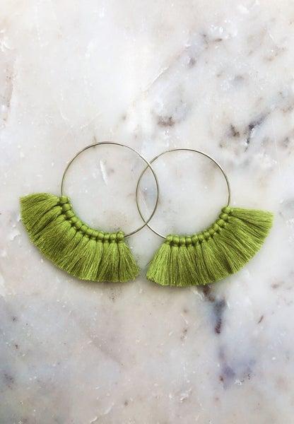 Love, poppy Tassel Hoops - Chartreuse
