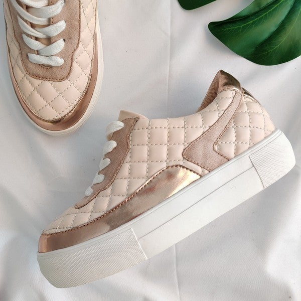 Quite the Quilted Sneaker - Blush