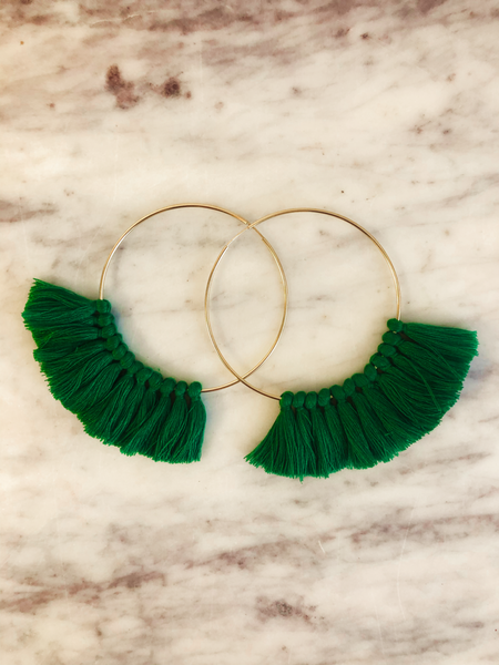 Love, poppy Tassel Hoops - Green