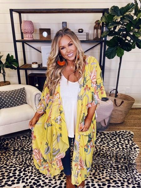 Sunshine And Sunday Ruffled Kimono-Golden