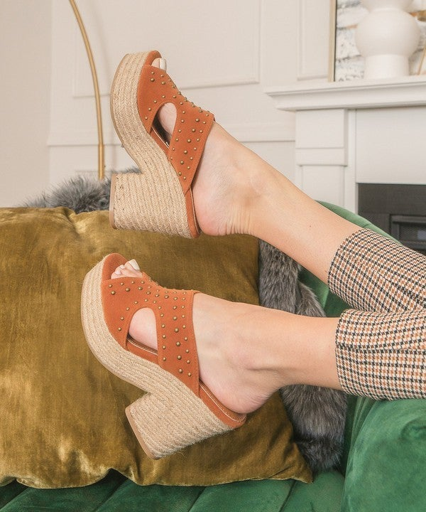 Take A Stand Studded Espadrille Heels - Orange