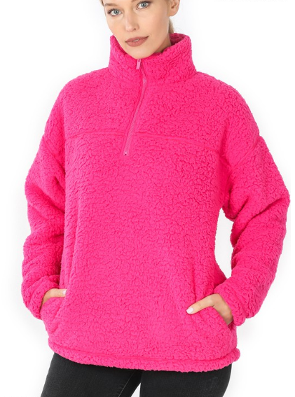 Reg/Plus Warm and Cozy Sherpa Pullover - Hot Pink