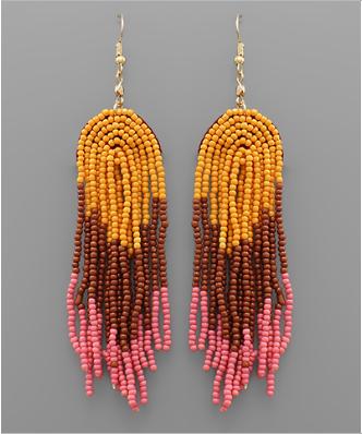 Beaded Rainbow Earrings - Pink & Orange