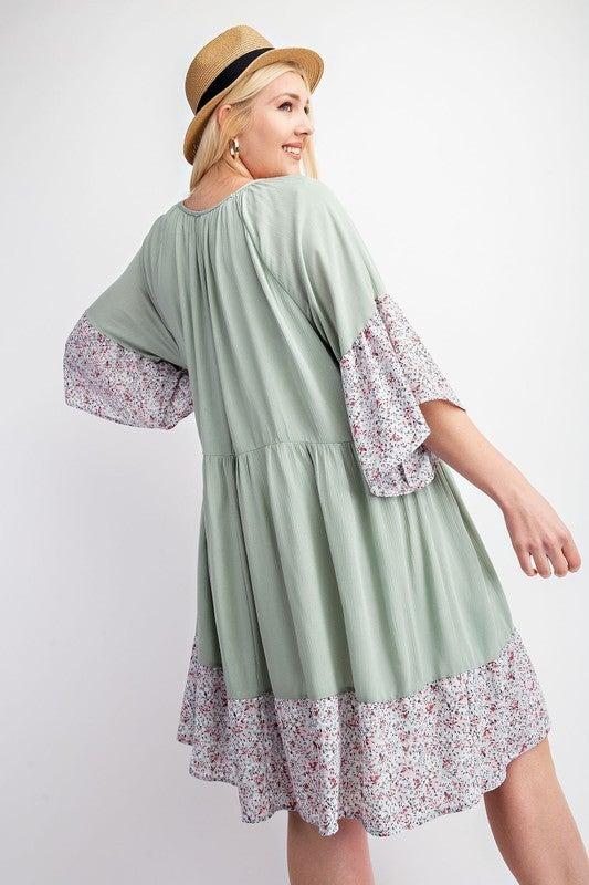 Hold Me Tonight Floral Dress-Sage
