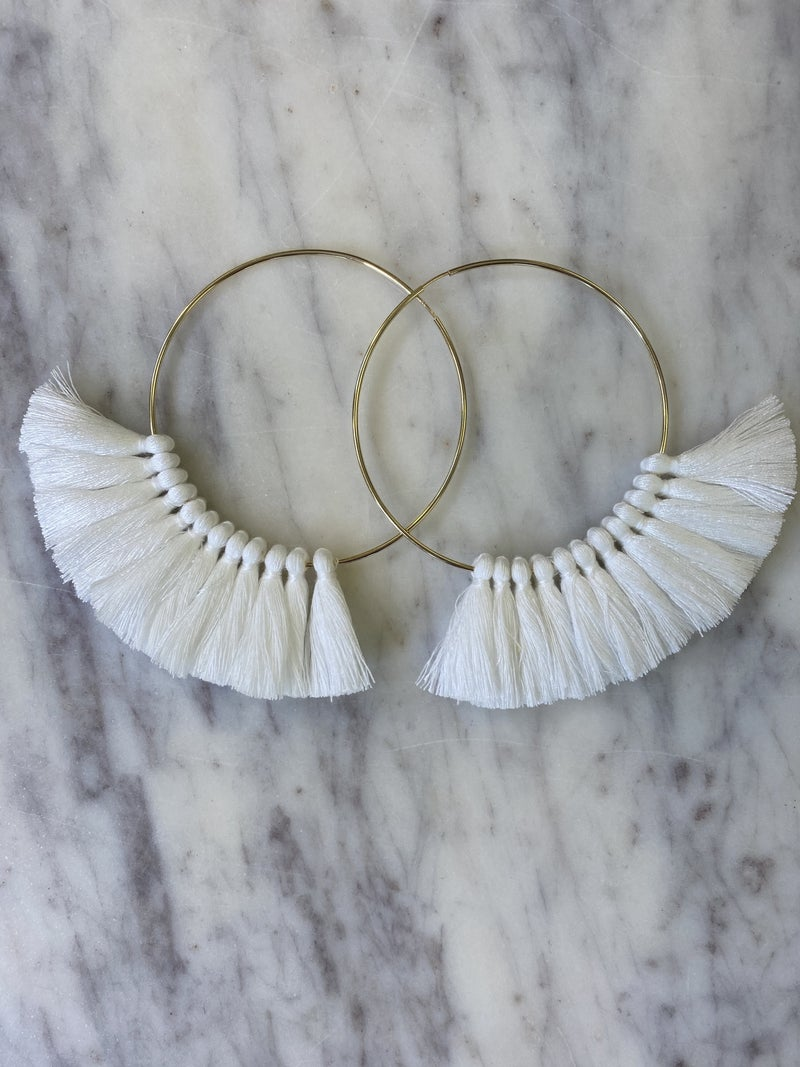 Love, Poppy Tassel Hoops - White