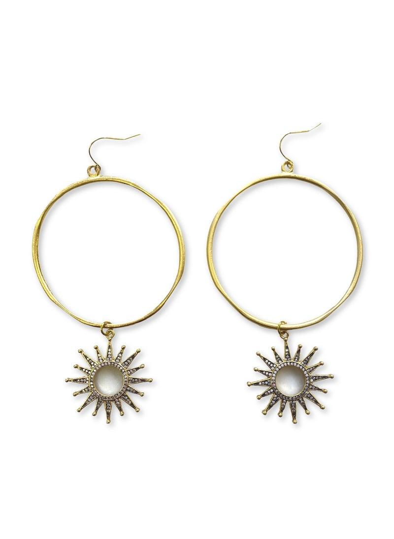 Jennifer Thames Matte Hoop and Sun Earrings