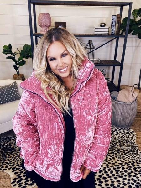 Crushing on You Velvet Jacket - Pink