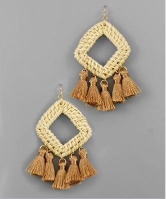Rattan Rhombus & Tassel Earrings - Lt Brown