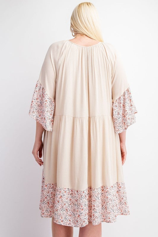 Hold Me Tonight Floral Dress-Oatmeal