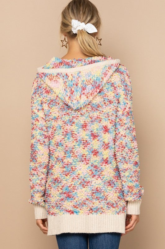 Reg/Plus Spotted In Color Sweater Hoodie - Bubble Gum
