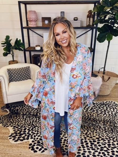 PLUS/REG Need A Vacation Kimono - Blue Mix