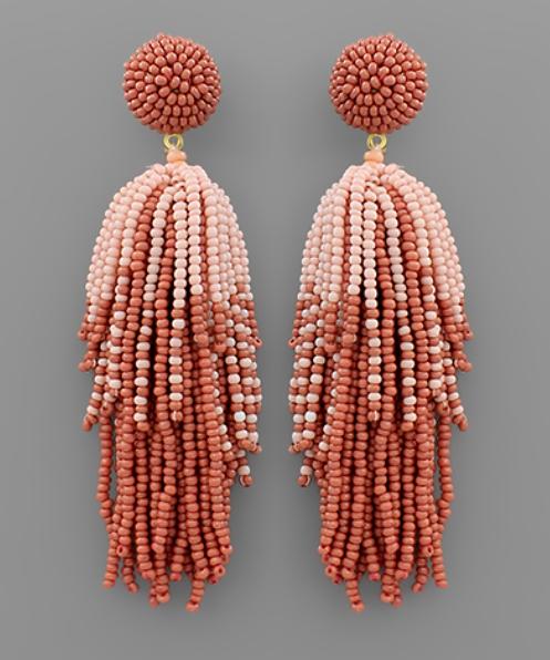 Beaded Beauty Earrings - Pink