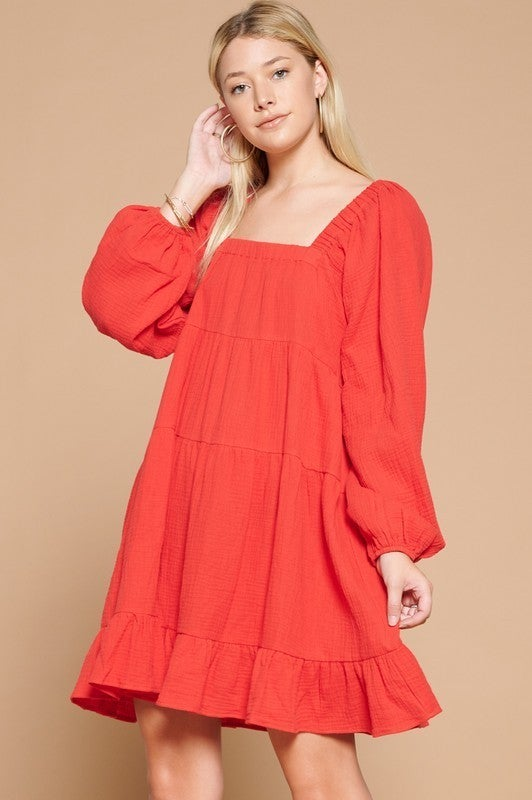 Reg/Plus Simply Luxe Babydoll Dress - Tomato Red