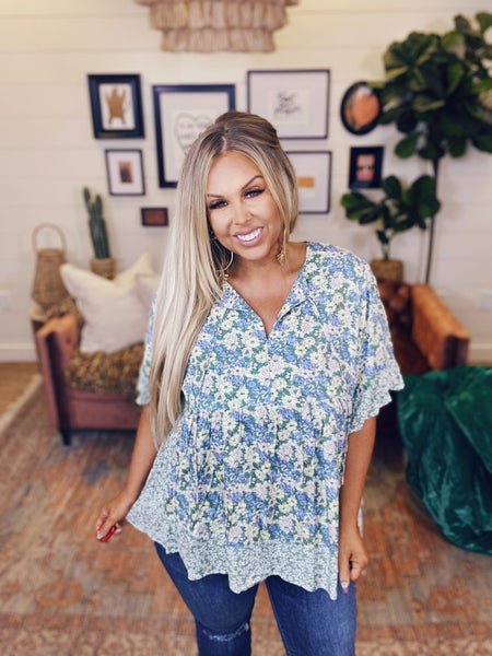 Perfect for the Weekend Floral Top -  Sage Blue