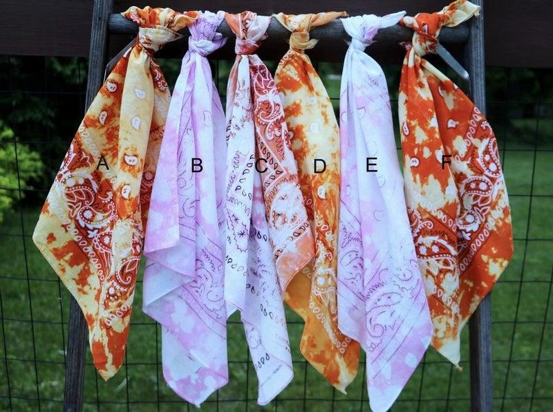 Pink & Orange Tie Dyed Bandanas