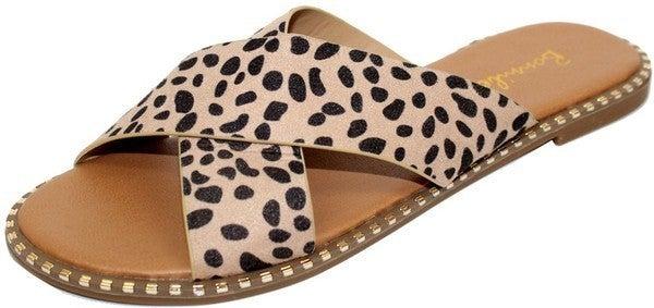 Just Slip Them On Studded Slide Sandals - Cheetah