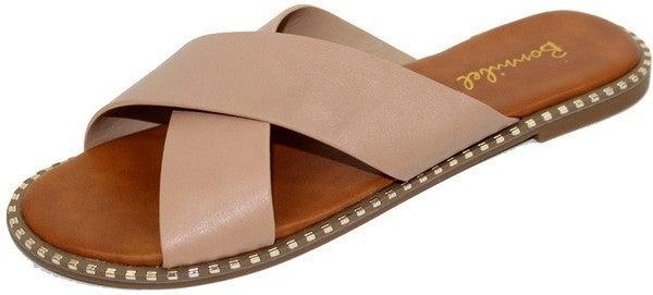 Just Slip Them On Studded Slide Sandals - Natural