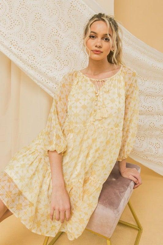 Sweet As A Daisy Mini Dress - Yellow