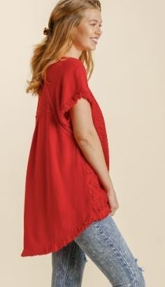 On My Mind Hi Lo Frayed Top-Red