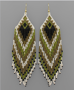 Falling For You Earrings - Olive