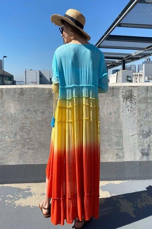 Shine Brighter Long Sleeve Dress - Rainbow