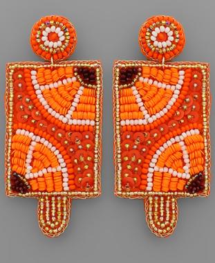 Beaded Popsicle Earrings - Orange