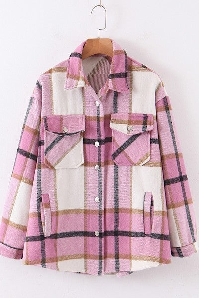You Are Perfect Flannel Top - Hot Pink