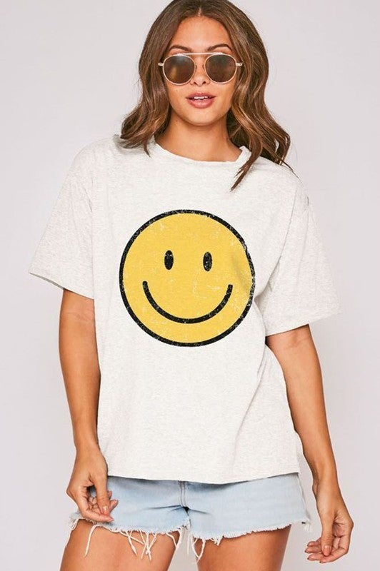 Smiley Face Graphic Tee-Yellow