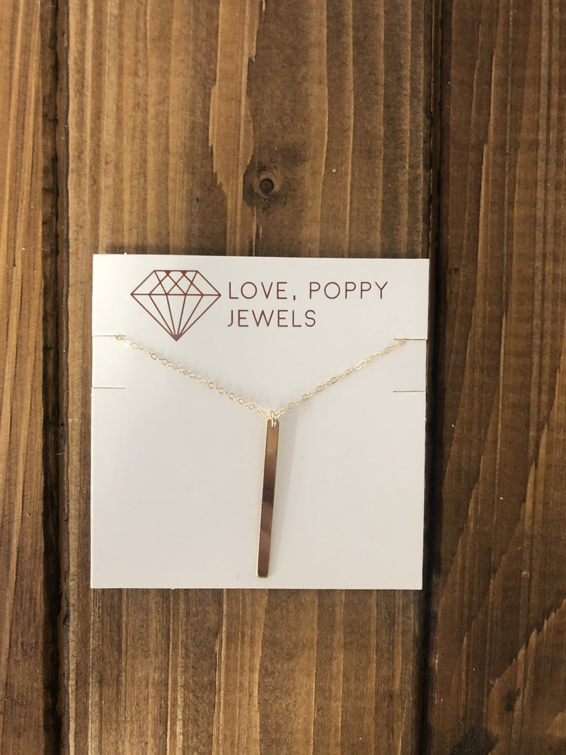 Love, Poppy Gold Bar Short Necklace