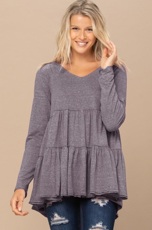 Reg/Plus Out In Front Babydoll Blouse-Charcoal