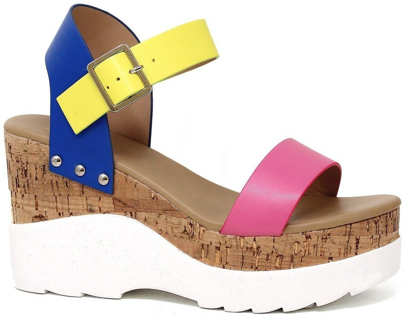 In The Moment Cork Wedge Sandals - Multi