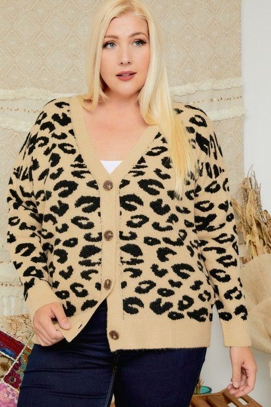 PLUS/REG Button Up Your Leopards Cardigan