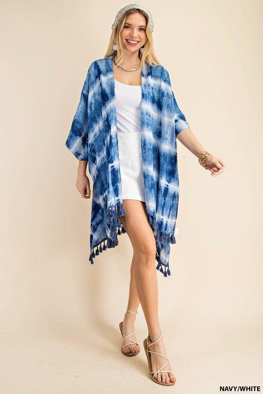 Loving The Weather Kimono - Navy/White