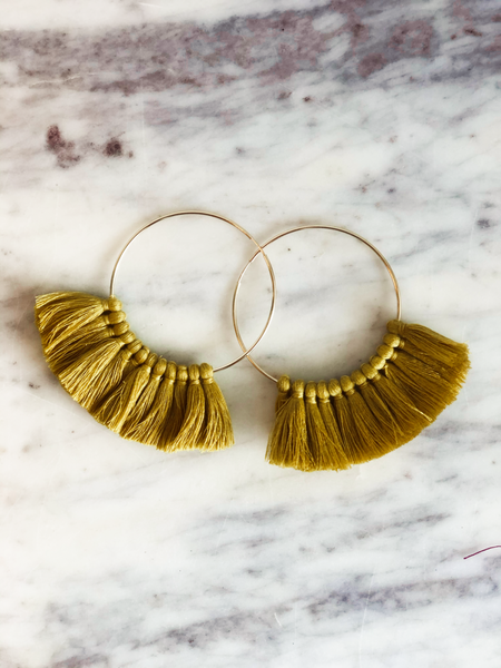 Love, poppy Tassel Hoops - Mustard