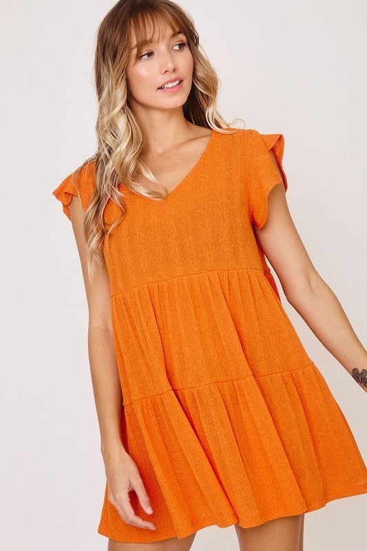 Up To The Sky Tiered Tunic-Orange