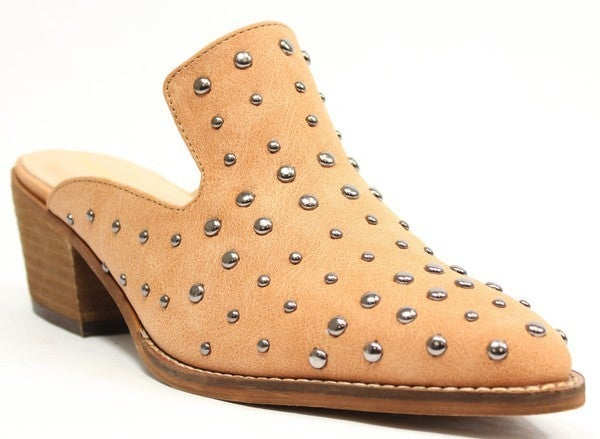 Square Dance Fun Studded Mules - Whiskey