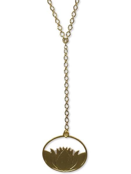 Jennifer Thames Long Crinkle Chain w/ Water Lily