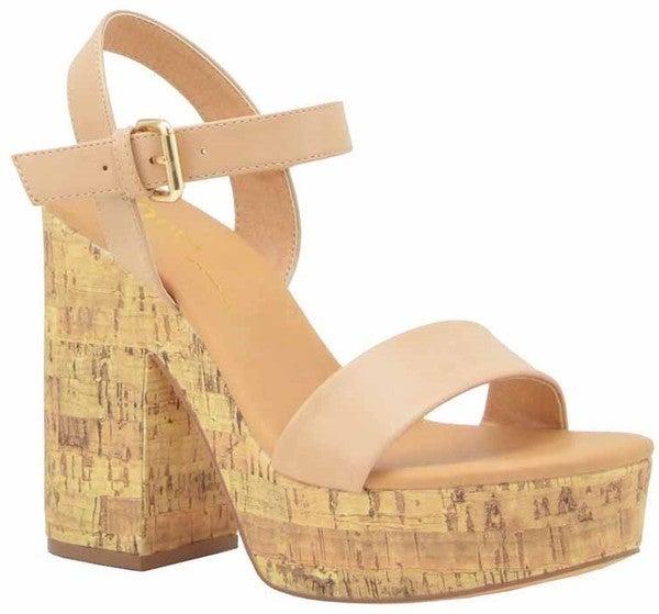 Stand Tall Cork Sandals - Nude (Run 1/2 Size Big)