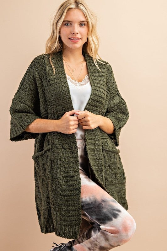 Cozy As Can Be Sweater Cardigan - Olive