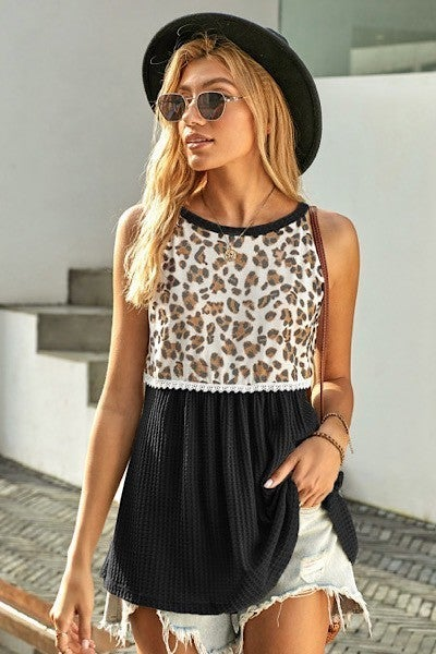 REG/PLUS Almost There Leopard Top-Black