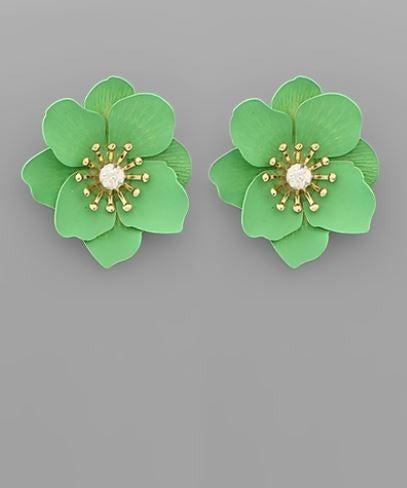The Secret Garden Flower Earrings - Mint
