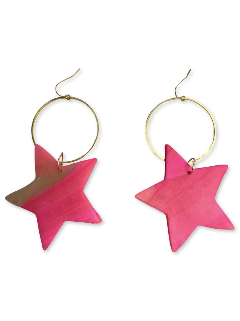 Chic'd Out Neon Pink Translucent Star Hoops