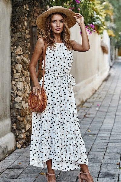 Hold On Halter Dress-White