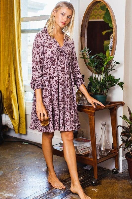 Reg/Plus Fall Days Floral Dress - Lavender