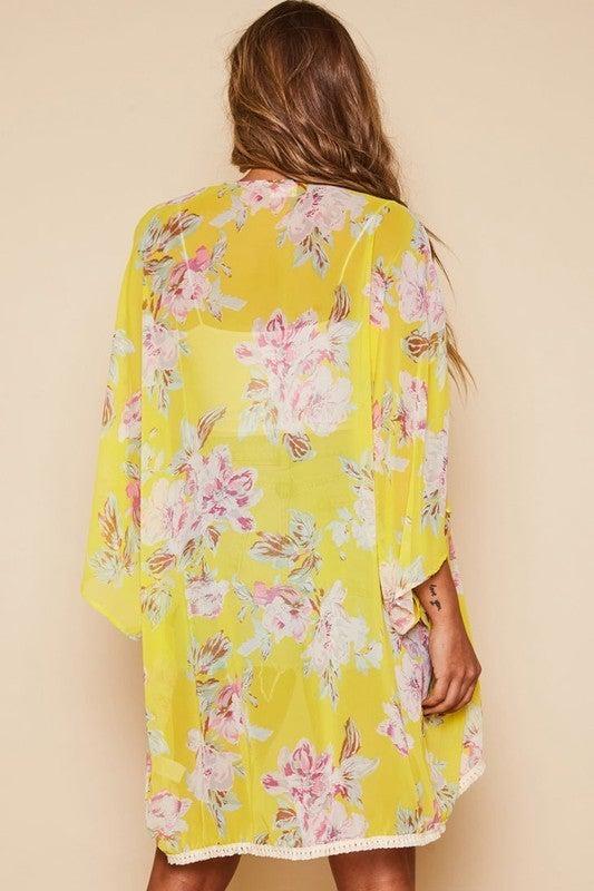 My Reflection Flower Kimono Jacket-Yellow